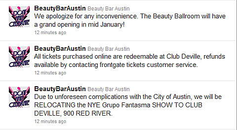 Beauty Ballroom Tweet re: NYE Show