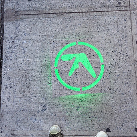 Aphex Twin logos showing up all over NYC and a blimp in London
