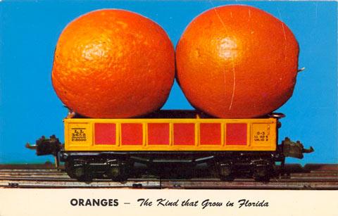 Oranges on a toy train