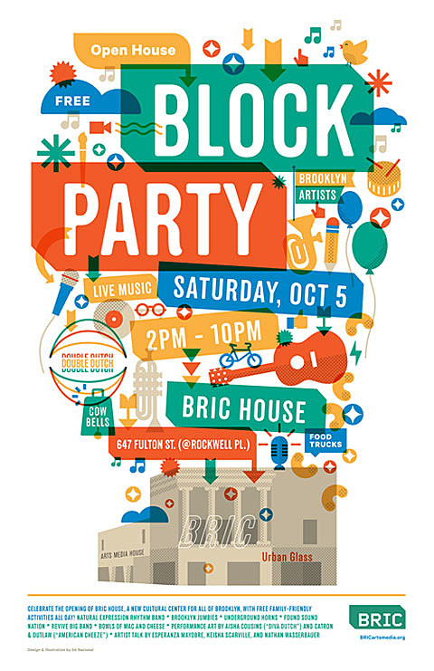 New venue bric house opens by bam block party saturday for Block party template flyers free