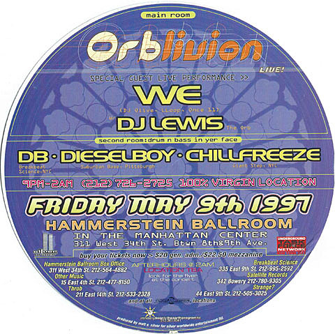 The Orb 1997 Hammerstein Ballroom flyer