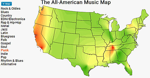 All American Music Map maps favorite music genres by state NY is