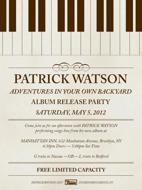 Patrick Watson Manhattan Inn Flyer