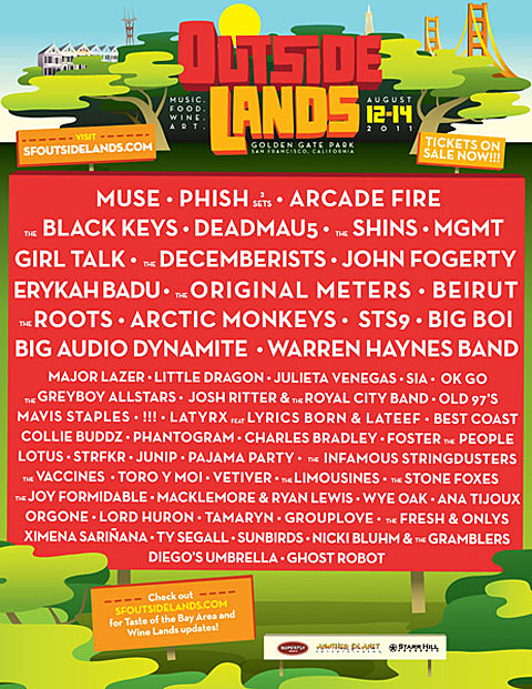 2020 Outside Lands Music And Arts Festival Lineup.Outside Lands 2011 Lineup