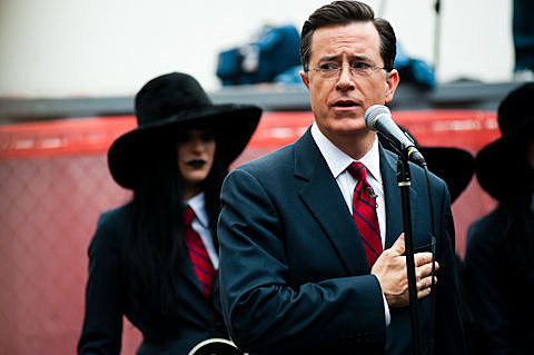 Jack White and Stephen Colbert