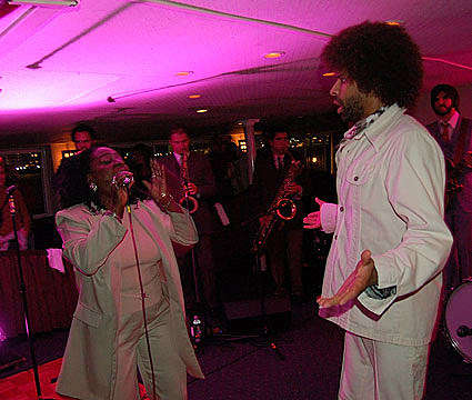 Sharon Jones on a boat