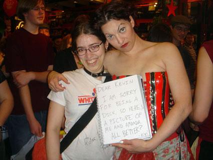 Amanda Palmer in her underwear at Newbury Comics