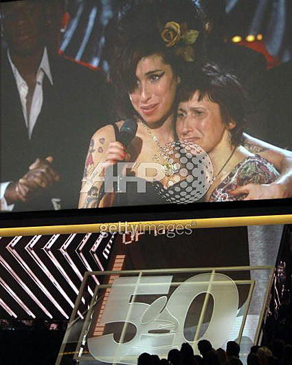 Amy Winehouse & mom at the Grammys