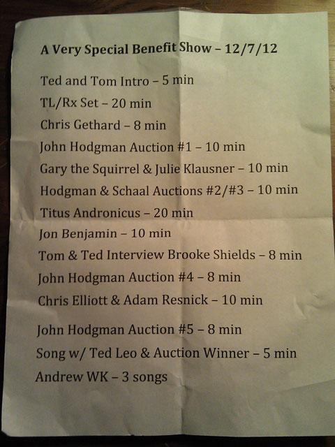 Tom Scharpling Setlist
